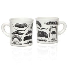 Great Mustaches Mug from Z Gallerie. I would use these to put the silverware in as part of the tablescape.