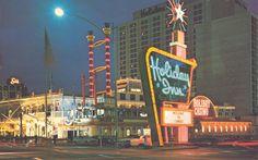 Tumbleweed Motel (1949) - Pyramids Motel (?); Both were taken over for: River Boat Casino (1971) - Holiday Casino (1973) - Harrah's (1992-present)