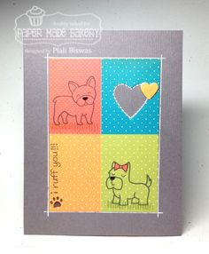 Lawn Fawn - Critters at the Dog Park _ Fun color blocked card! Paper Made Bakery: I Ruff You!!!