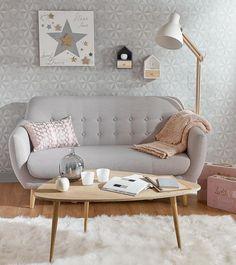 "Decorating Vintage Sofa ""Iceberg"" in grau von Maison du Monde Home Living Room, Living Room Decor, Bedroom Decor, Bedroom Sofa, Living Area, Scandinavian Sofas, Vintage Sofa, Vintage Coffee, Home And Deco"