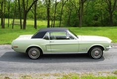 1968 Seafoam Green black vinyl Mustang hardtop, right side view. 1968 Mustang, Mustang Cars, Ford Mustang, Green Mustang, Drive A, Pony Car, Sea Foam, Dream Cars, Classic Cars