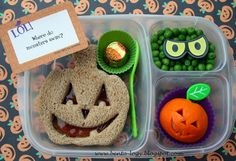 Jack-O-Lantern Lunch    packed in an @EasyLunchboxes container