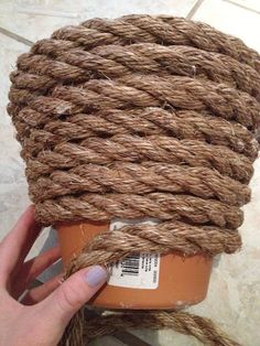 rope covered flower pot or any other ugly you want to spruce up, A Bucket perhaps? Outdoor Projects, Diy Projects, Outdoor Decor, Coil Pots, Clay Pot Crafts, Rope Crafts, Garden Planters, Concrete Planters, Hanging Planters