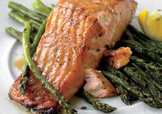 Honey-Mustard Salmon with Roasted Asparagus. The honey-soy mustard crust on the salmon contrasts nicely with the simple and delicious roasted asparagus. Salmon Recipes, Fish Recipes, Seafood Recipes, Dinner Recipes, Cooking Recipes, Healthy Recipes, Recipies, Meal Recipes, I Love Food