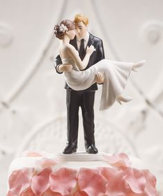 """""""Swept Up in His Arms"""" Wedding Couple Figurine  from Weddingstar. {romantic, #love, true love, #wedding cake, topper, figure, figurine, custom, personalized/personalised, reception}"""