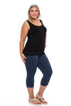 Gumis derekú, szabásvonalakkal és tűzèsekkel díszített 7/8-os nadrág.Nagyon elasztikus, ott enged ahol kell ezért biztos kedvenc lesz! Több színben, divatos mintás változatban is készültek ezek a nagy méretben is elérhető nadrágok. Strassz köves szegecsekkel díszített, kellemes alapanyagú nyári nadrág. Clothes 2019, Summer Clothes, Summer Outfits, Edm, Basic Tank Top, Tank Tops, Women, Fashion, Summertime Outfits