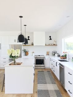 white kitchen with black accents