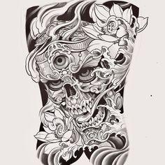 Japanese Mask Tattoo, Japanese Dragon Tattoos, Hanya Tattoo, Bigger Arms, Asian Tattoos, Japan Tattoo, Oriental Tattoo, Skull Artwork, Samurai Tattoo