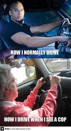 How I drive vs. how I drive when I see a cop. #carmemes