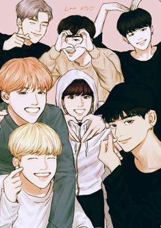 Bts fanart btsfanart jimin jhope rm jin v jungkook suga Bts Chibi, Bts Anime, Anime Guys, K Pop, Bts E Got7, Fanart Kpop, Mundo Musical, Yoonmin Fanart, K Wallpaper