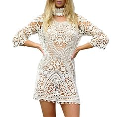 Sexy crochet beach dress donna casual lavorato a maglia del merletto di estate dress hollow out boho beachwear caldo bianco JA01