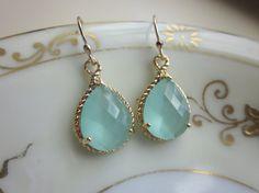Pacific Aqua Mint Earrings Gold Blue Earrings Bridesmaid by laalee, $30.00