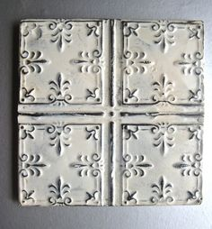 RESERVED for MariaRoma- Antique Tin Ceiling Tiles, Architectural Decor, White Decor, French Inspired, Shabby and Chic, Rustic Wall Decor. $85.00, via Etsy.