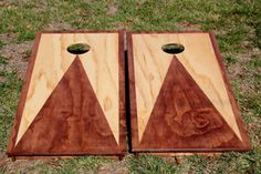 Stain Triangle and Border Custom Cornhole Boards by The Cornhole Guy 12612