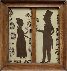 Unusual Paper Cut Out Folk Art Couples Silhouette