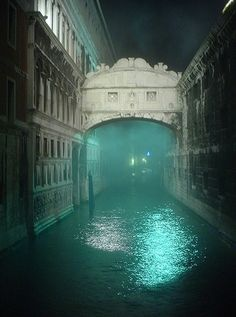 The Bridge of Sighs in Venice, Italy.  The openings on the bridge are the last view of the outside world that a prisoner sees before entering the prison for their sentence.