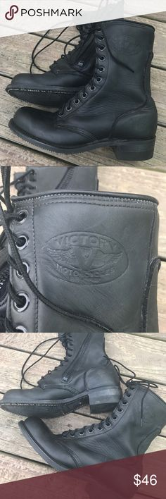 Victory Motorcycle Boots Men's 10 Great boots ...super with the quick side zip for getting on and off really quick. They have been pre worn and have been fully mink oiled. No major issues to report, you can just tell they have been worn. Leather is super supple. Victory Shoes Boots