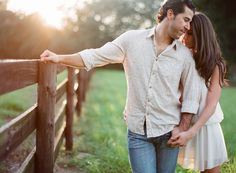 Southern weddings - farm engagement session. I really like the sun in the background