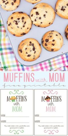 Muffins with Mom Printable Invite on Frugal Coupon Living plus an easy chocolate chip muffin recipe. Mother's Day invitation for church, school and organizations. Muffins For Mom, Mother's Day Activities, Mothers Day Breakfast, Mothers Day Crafts For Kids, Chocolate Chip Muffins, Baking Cups, Mother's Day Diy, Muffin Recipes, Breakfast Recipes