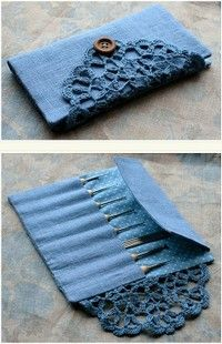 Cute- might need to try the doily closure on a wallet or bag!