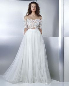 A Line Beach Wedding Dresses 2017 Off The Shoulder Sweetheart Neckline Heavily Embellished Bodice Tulle Skirt Romantic Bridal Gowns Wedding Dresses Lace Wedding Dresses London From Gonewithwind, $201.01| Dhgate.Com