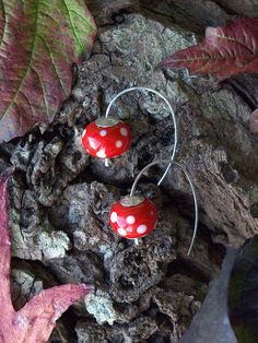 fly agaric earrings by HandmadeEarringsUK on etsy Autumn, Christmas Ornaments, Unique Jewelry, Holiday Decor, Handmade Gifts, Earrings, Etsy, Vintage, Home Decor