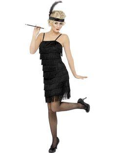 Strój karnawałowy dla dorosłych Flapper w kolorze czarnym, z frędzelkami. Sukienka elegancko wykończona, z regulowanymi ramiączkami, zapinana z boku na zamek. Doskonała na imprezę w stylu lat XX-tych.