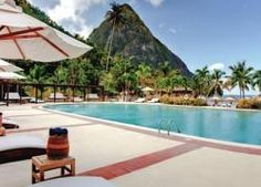 The West Indies, relaxing by the pool on Pitons Bay.
