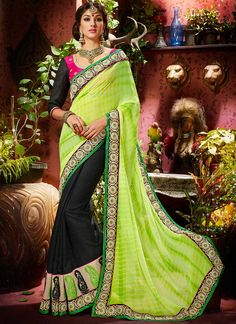 Breathtaking Green And Black Faux Georgette Saree, Product Code :7562, shop now http://www.sareesaga.com/breathtaking-green-and-black-faux-georgette-saree-7562  Email :support@sareesaga.com What's App or Call : +91-9825192886