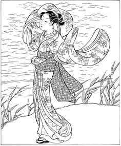 Embroidery Japanese Women in Japanese Art: Ukiyo-e Woodblock Prints (Dover Fashion Coloring Book) - People everywhere are entranced by Japanese art, and with good reason. Here are the very best Japanese coloring books for adults. Doodle Coloring, Coloring Pages To Print, Coloring Book Pages, Japanese Quilts, Japanese Art, Japanese Kimono, Art Chinois, Art Japonais, Japanese Embroidery