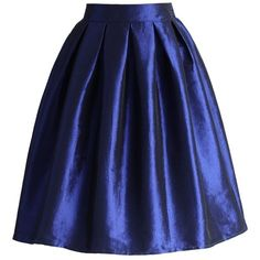 Chicwish Sapphire A-line Midi Skirt ($30) ❤ liked on Polyvore featuring skirts, blue, knee length a line skirt, blue pleated skirt, midi skirt, knee length pleated skirt and a line midi skirt
