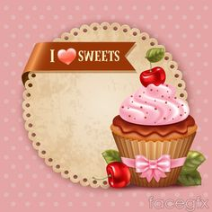 Special cake Cup background vector