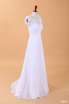 bridesmaid dresses Graceful Simple V-neck Chiffon Wedding Dress with Bows On Shoulder $168.98
