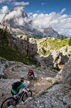 Mountain biking in the Dolomites. Wow.