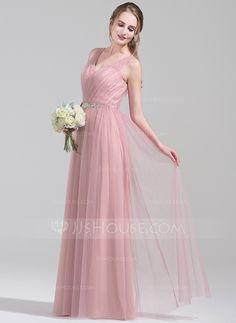 [R$ 382.13] Vestidos princesa/ Formato A Decote V Longos Tule Vestido de…
