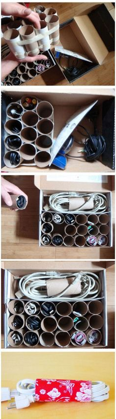 DIY cord storage, you could probably make it look really cute with some wrapping paper or scrapbook paper. I really didnt know toliet rolls can be such good use!