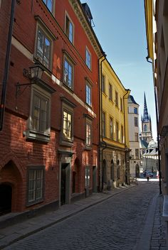 Colourful buildings, Old town (Gamla stan), Stockholm.