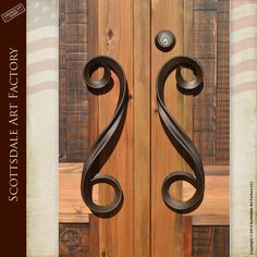 Contemporary door handles custom hand made by master level blacksmiths at Scottsdale Art Factory - hand forged wrought iron patina finished free-form designer door pulls