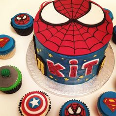 Superhero Birthday Party Spider-Man Cake with Spider-Man, Superman, Captain America and the Incredible Hulk cupcakes.