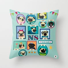 Lovely Pug Family Throw Pillow by Milanesa - $20.00