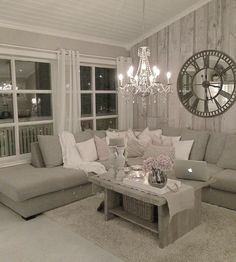 Grey furniture w/ white pillows. Condo Living Room, Cozy Living Rooms, Living Room Grey, Living Room Modern, Apartment Living, Home And Living, Living Room Designs, Living Room Decor, Home Decor Furniture