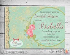 diy vintage romantic shower invitations | French Vintage Lace Invitation for Bridal Shower / Baby Shower ...