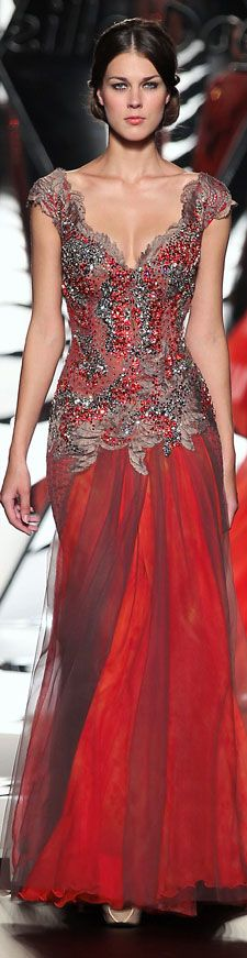 The Mireille Dagher - Elegant Red evening gown with beading - Fall-Winter 2014