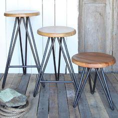 Modern Reclaimed Wood Harpoon Barstools - Stools - Shop Nectar - $175-310