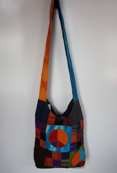 Peace Sign Patchwork Hobo Bag