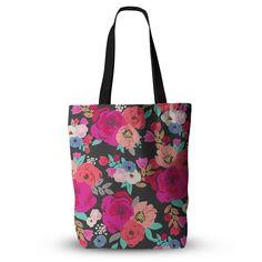 "Crystal Walen ""Sweet Pea"" - Black Floral Everything Tote Bag"