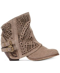 """Naughty Monkey Love Story Laser Cut Booties - A foldover shaft with laser-cut details, Western-inspired style. Imported, Suede leather upper, Round closed-toe laser cut booties, 2-1/2"""" chunky heel, Man-made sole - Macy's"""