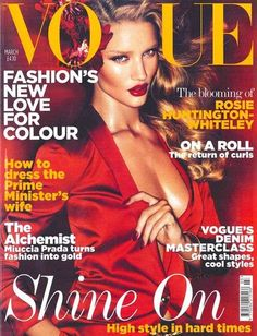 Rosie Huntington-Whiteley for Vogue UK Sizzles in Luscious Red