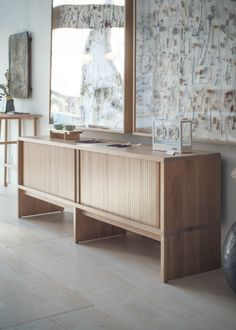 Mjolk Cabinet collection in solid oak and walnut designed by Thom Fougere. Available exclusively through Mjolk. Office Interior Design, Office Interiors, Furniture Decor, Furniture Design, Minimalist Furniture, Tambour, Interior Architecture, New Homes, Cabinet