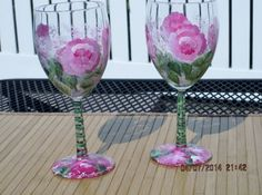 Hand painted Wine Glasses by ingeborgsorgent on Etsy, $24.00